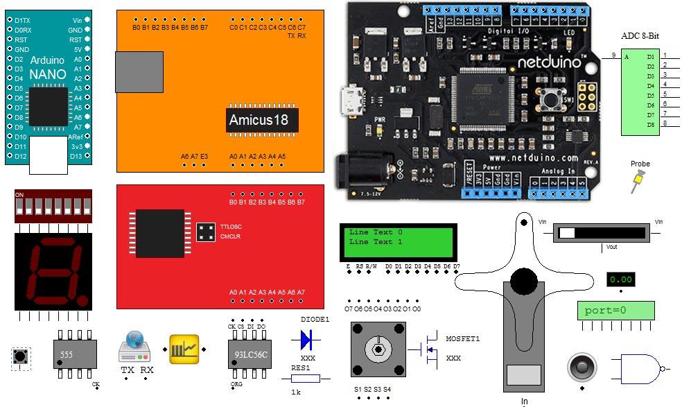 Componentes en el VirtualBreadboard